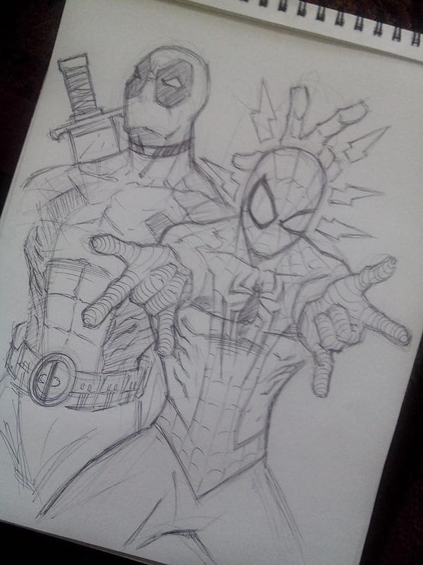 Deadpool Spiderman warm up sketch by DamageArts
