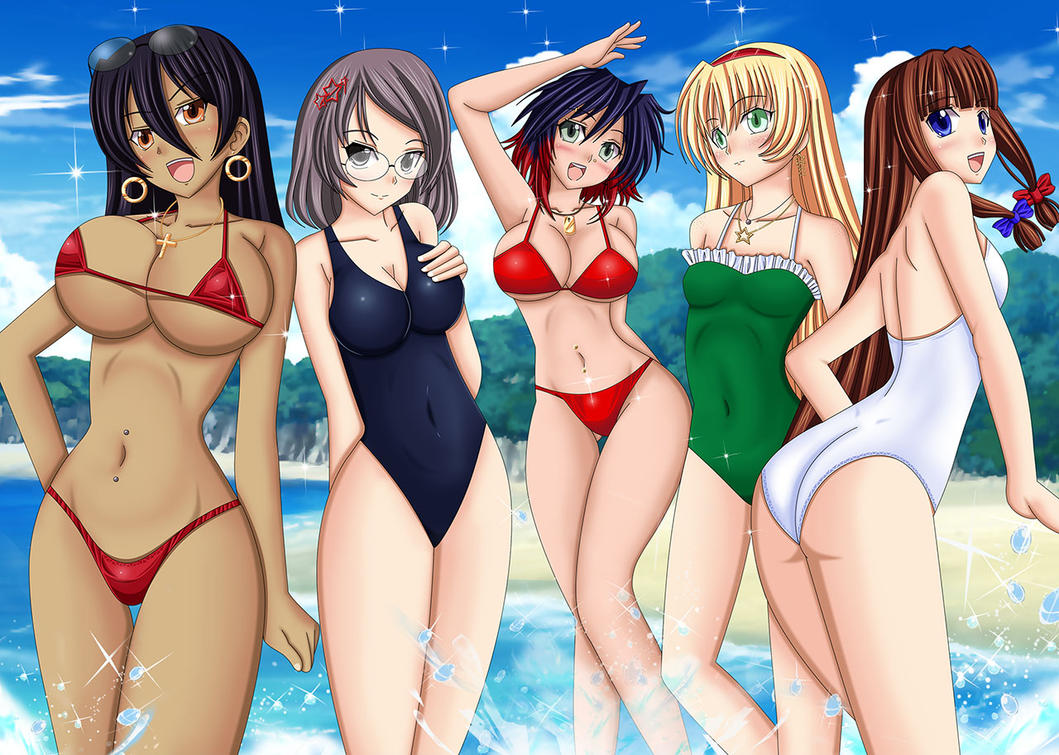 Girls on the beach by Artemisumi