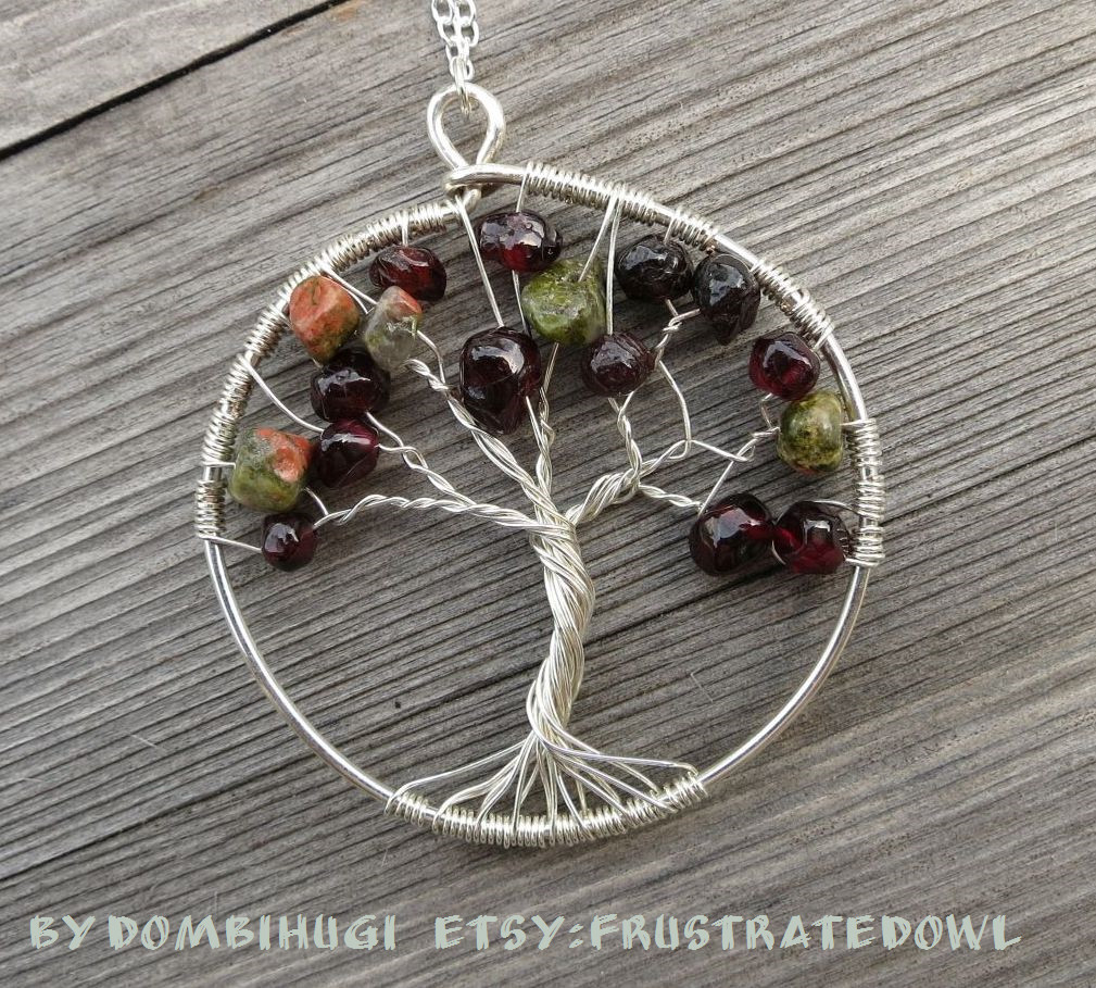 Tree pendant with garnet and unakite by DombiHugi