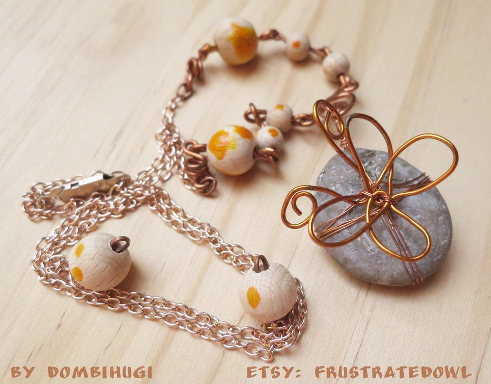 Butterfly on a Stone necklace by DombiHugi
