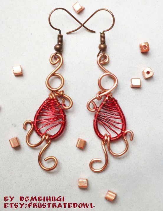 Red Copper Drop earrings by DombiHugi