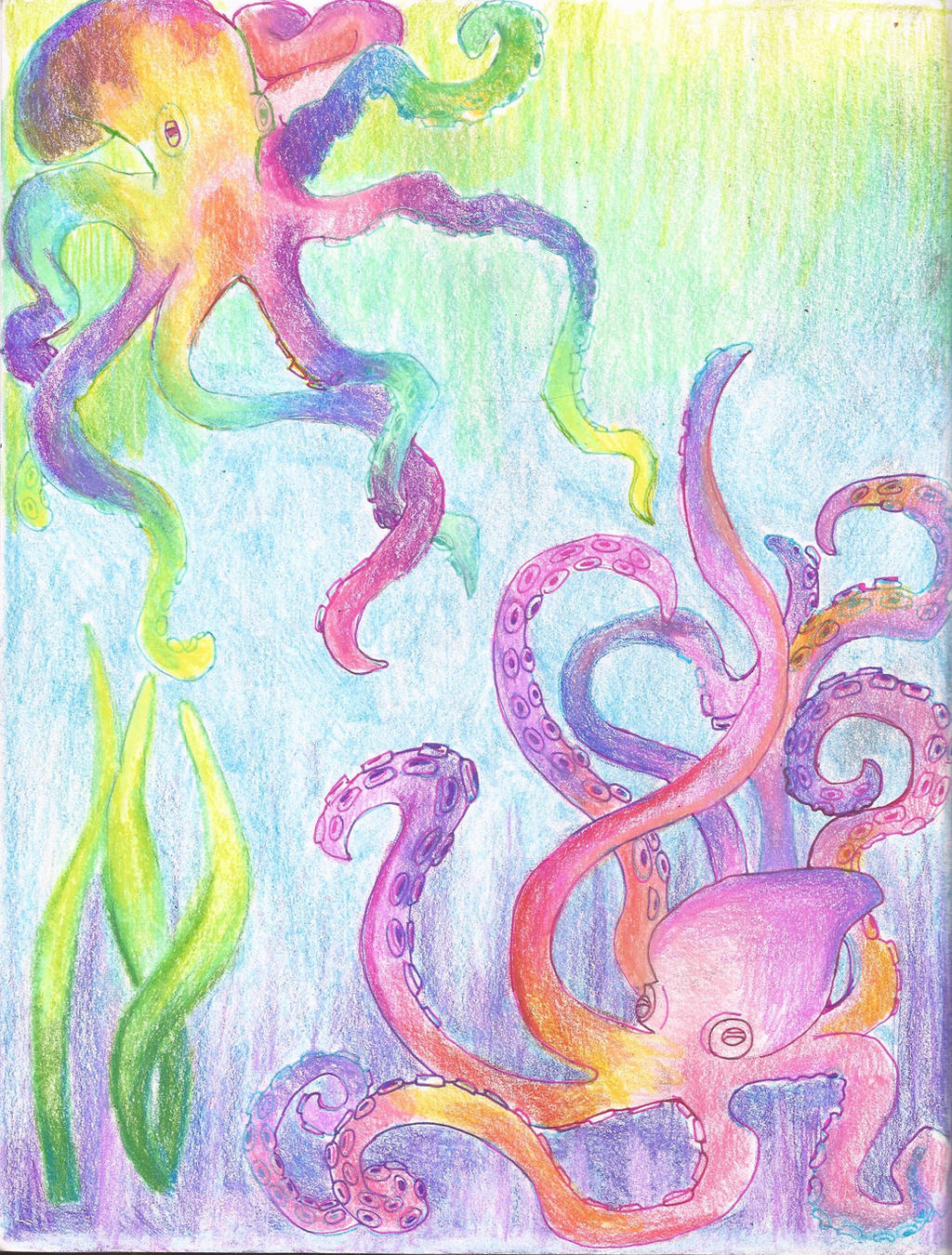 Colorful octopus by calliopecloudcat on deviantart for Colorful octopus painting