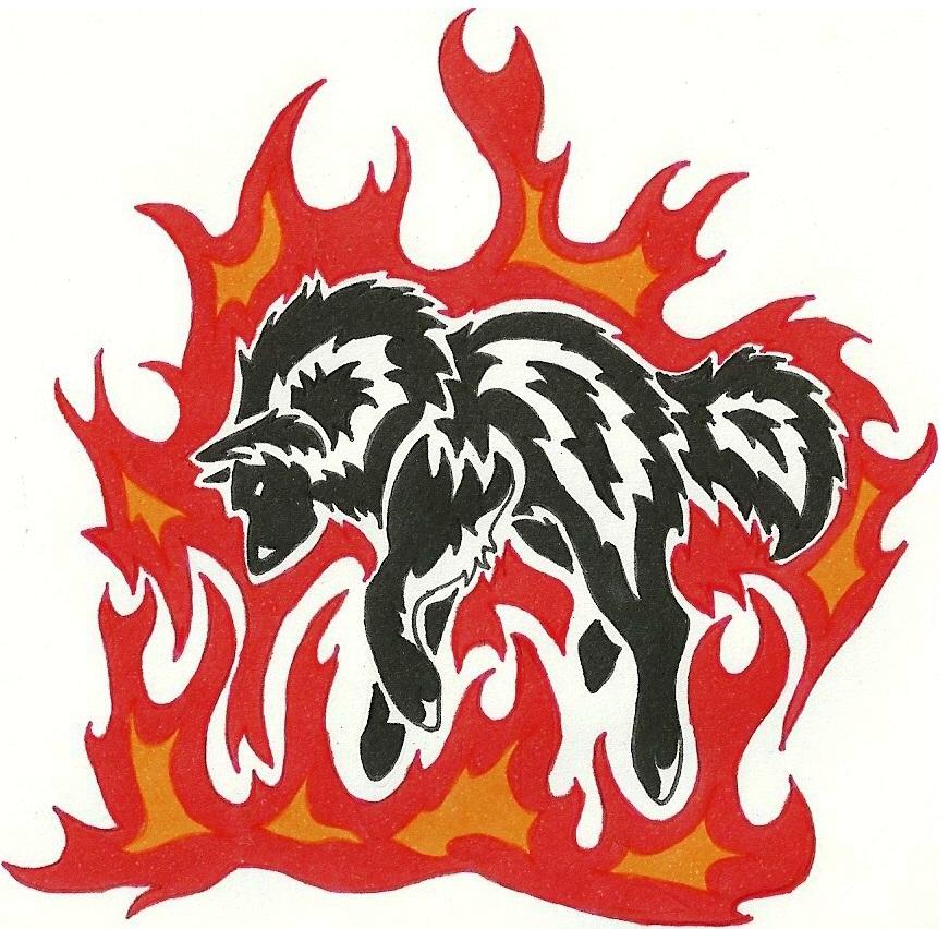 fire wolf tattoo by MayaWolf13