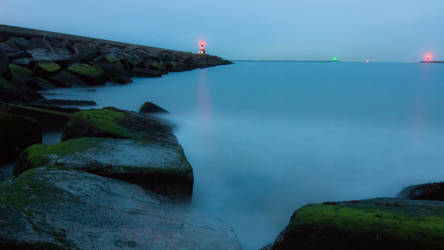 Breakwater At The Blue Hour by VSeliott