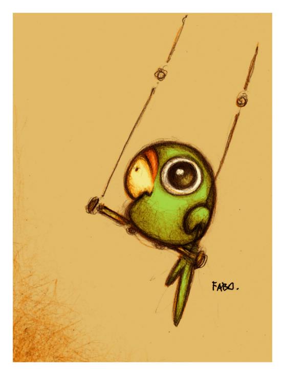 Kreslený papoušek