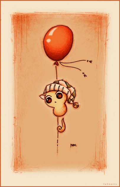 Gato y globo. by faboarts
