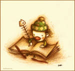 Escribiendo sus memorias.