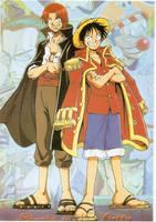 Shanks and Luffy postcard by KoyasuNaoki