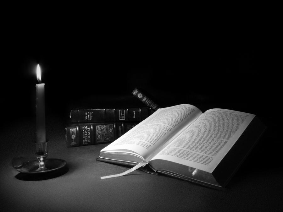 Reading by Candlelight by prall