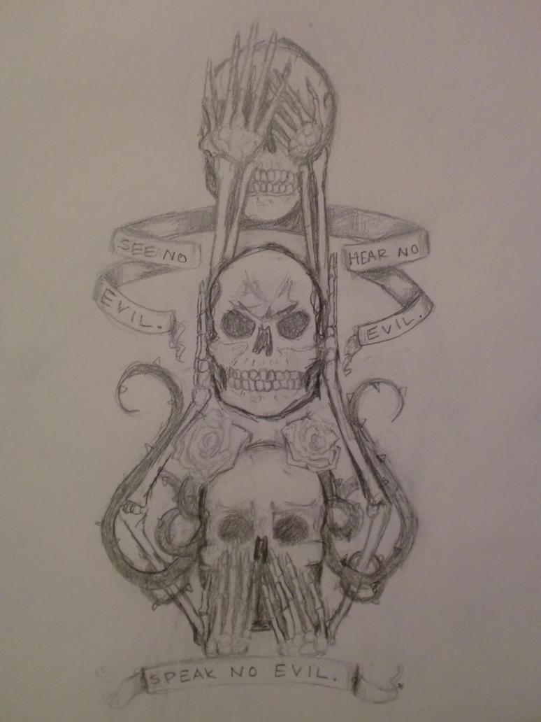 see hear speak no evil tattoo sketch by demonicwalrus on deviantart. Black Bedroom Furniture Sets. Home Design Ideas
