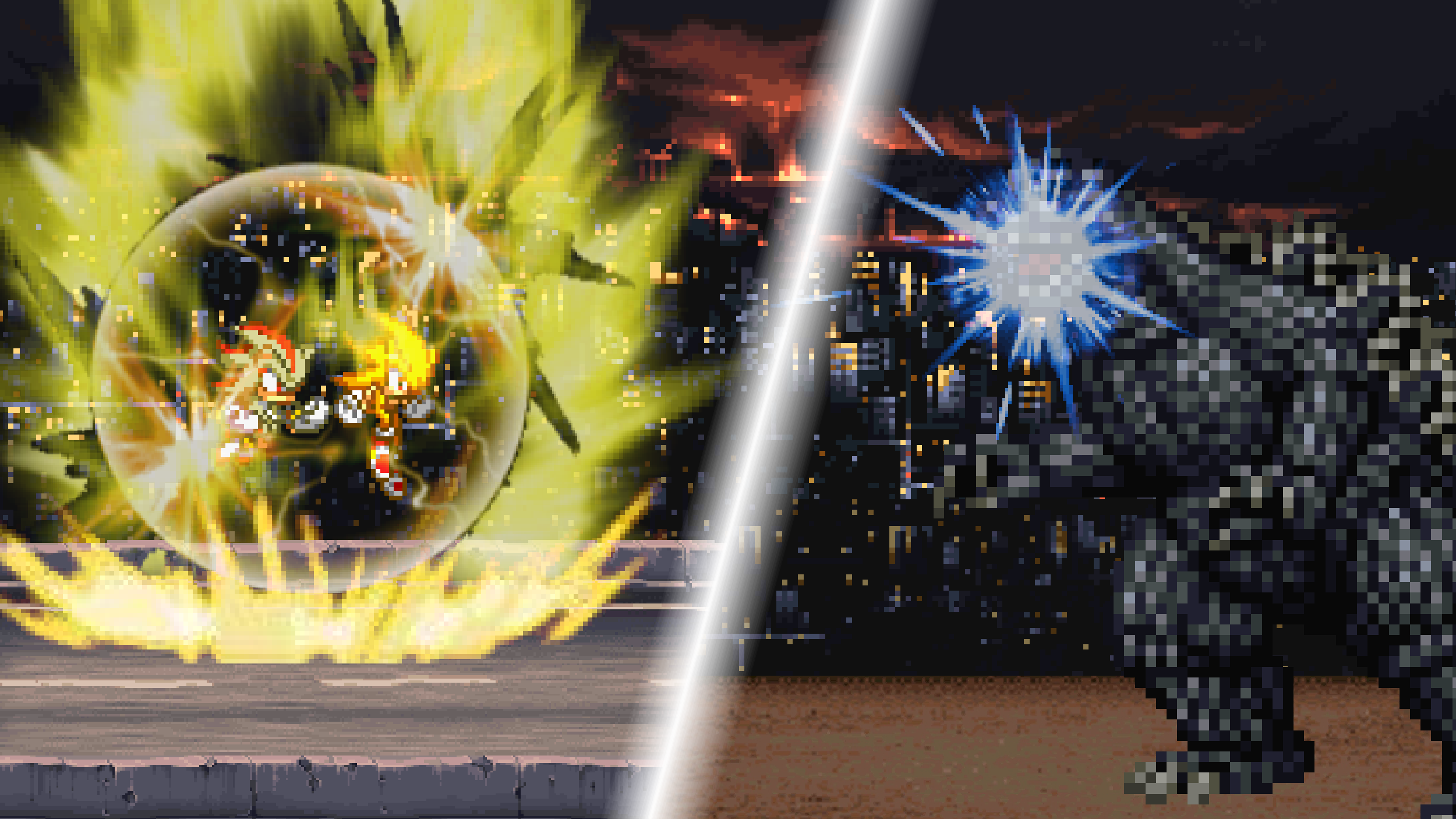 Super Sonic and Super Shadow vs Godzilla by scott910