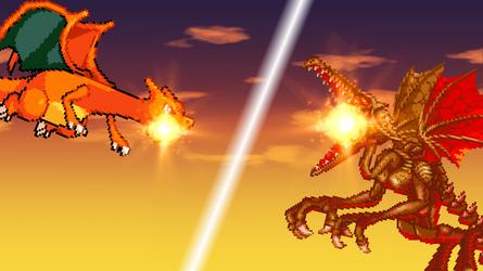 Charizard vs Ridley by scott910