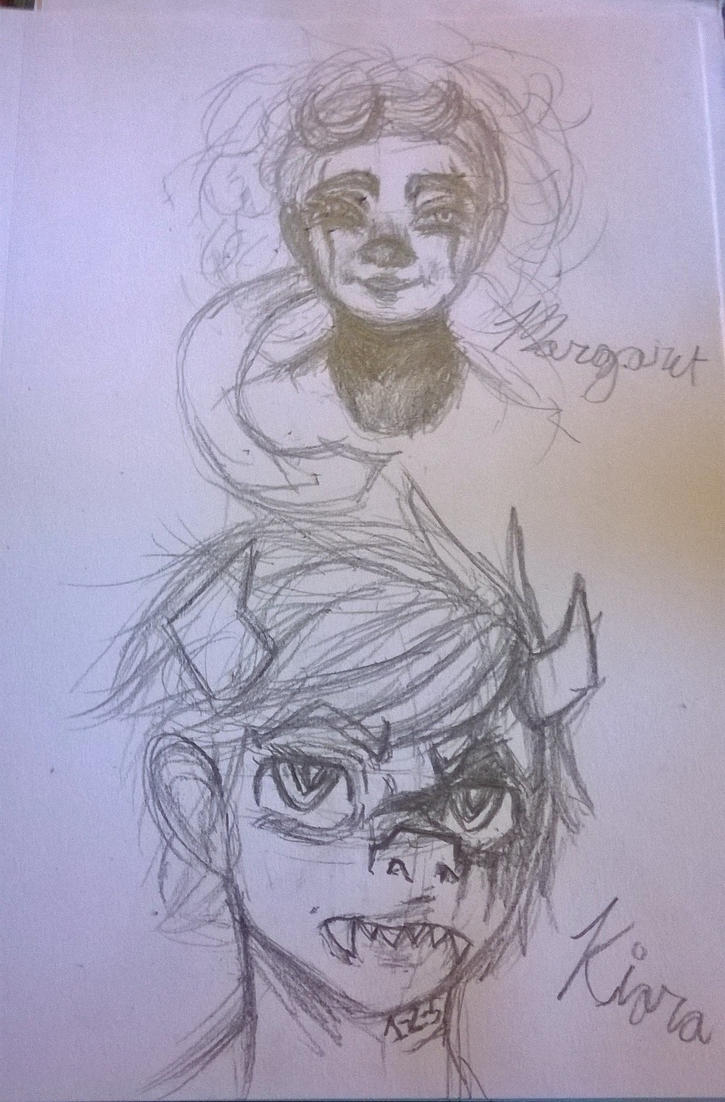 Margaret and Kiara Sketches by VocaloidWolf