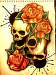 paint splash skull roses