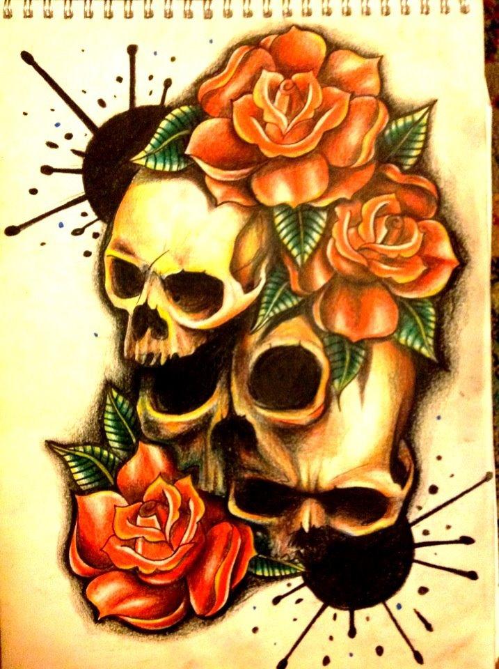 paint splash skull roses by 76Bev