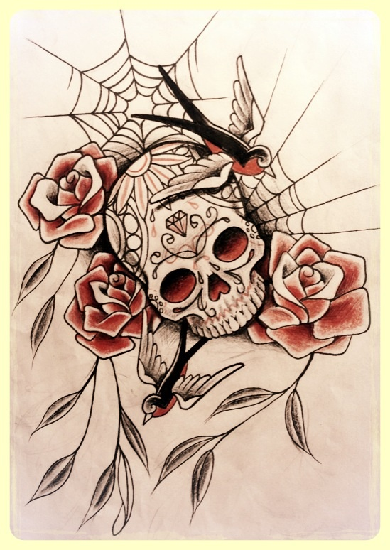 candy skull with swallows and roses by 76bev on deviantart. Black Bedroom Furniture Sets. Home Design Ideas