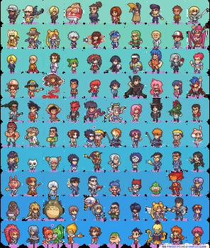 100 Manga and Anime Sprites