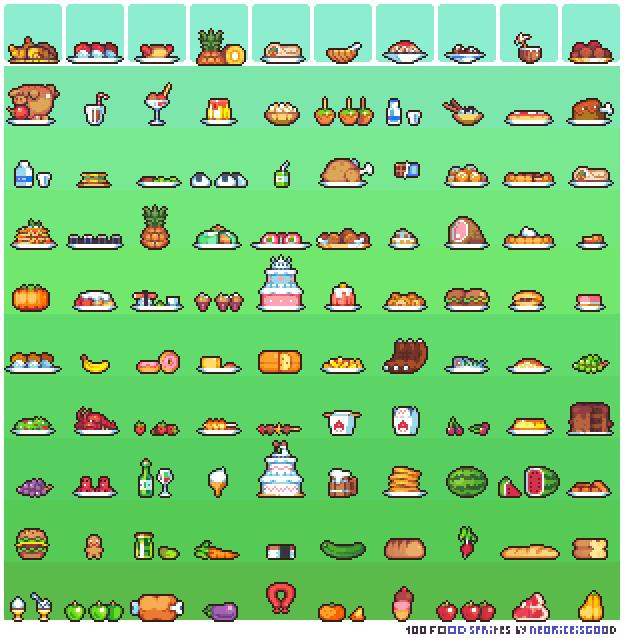 100 Food Sprites By Neoriceisgood On Deviantart