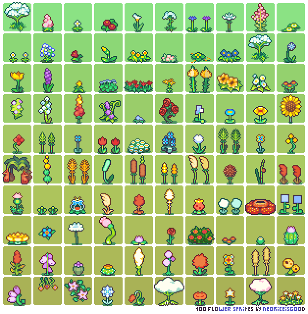 100 Flower Sprites by Neoriceisgood