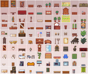 100 furniture sprites by Neoriceisgood