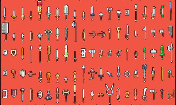 100 weapon sprites