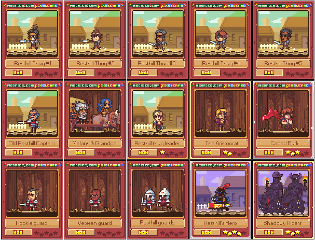 Resthill arc pixelcards: set 1 by Neoriceisgood