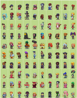 100 Hero oh Hero sprites by Neoriceisgood