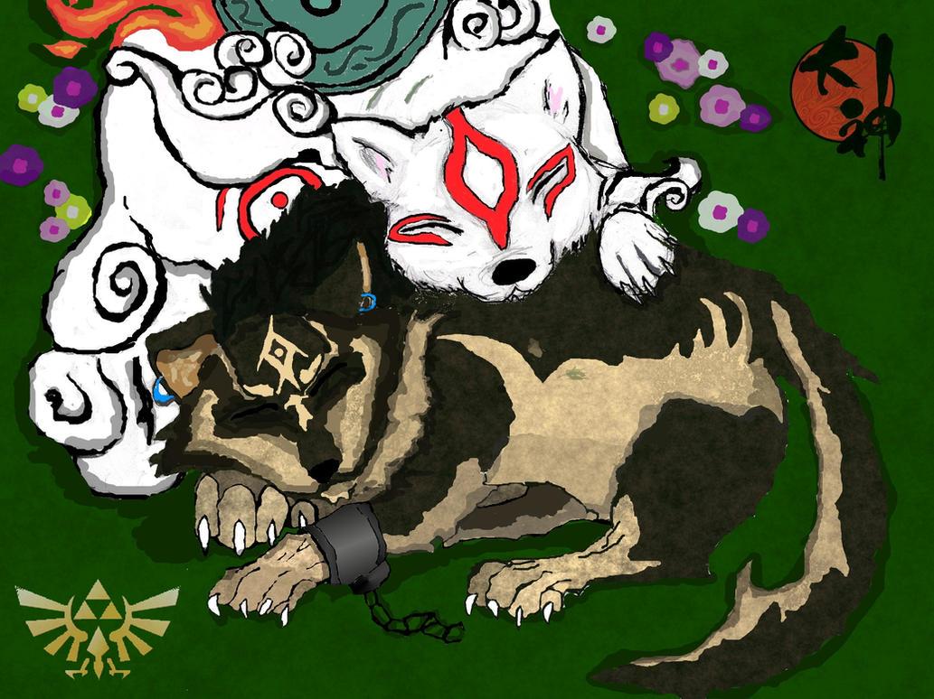 Okami Amaterasu and Wolf Link by aikawarazu-desuWolf Link And Okami