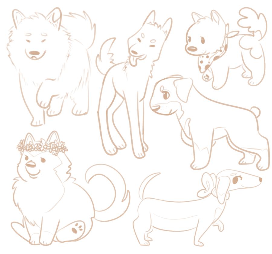 I doodled some doggos by aikawarazu-desu
