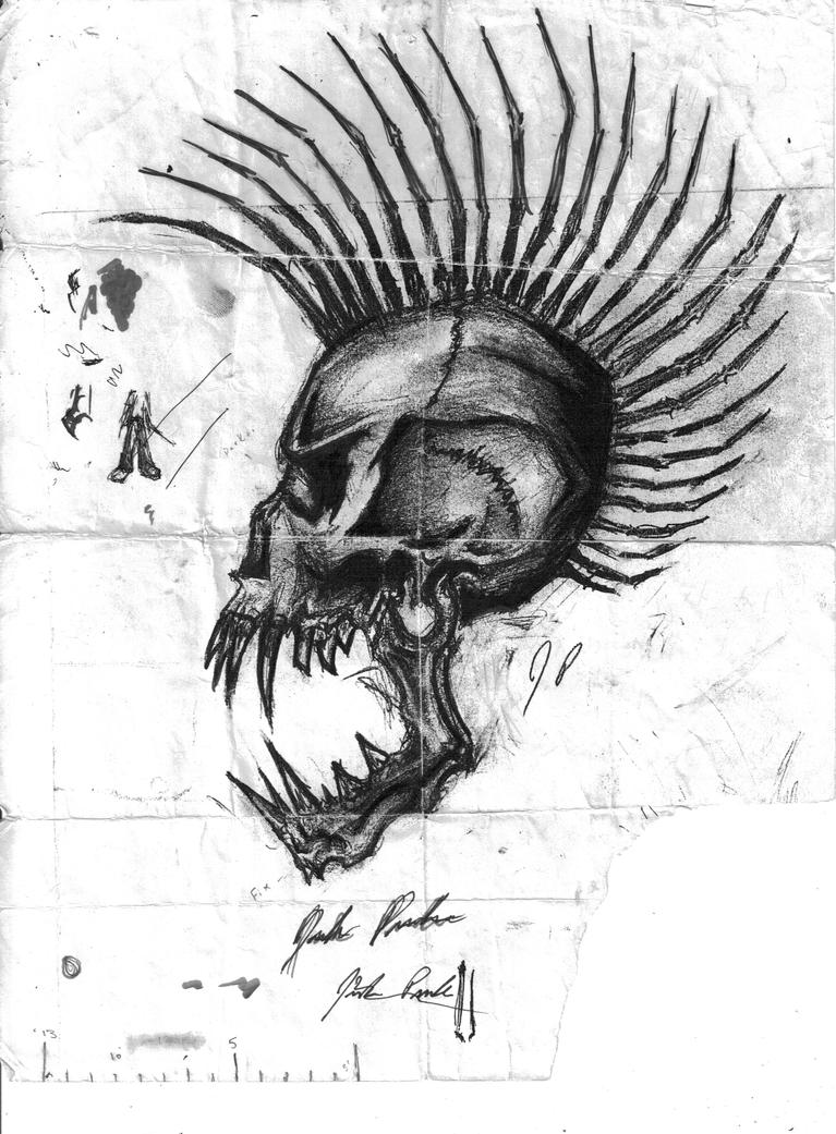 how to draw a skull with a mohawk