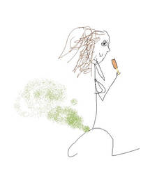 Me as a woman eating a corndog by DivineError