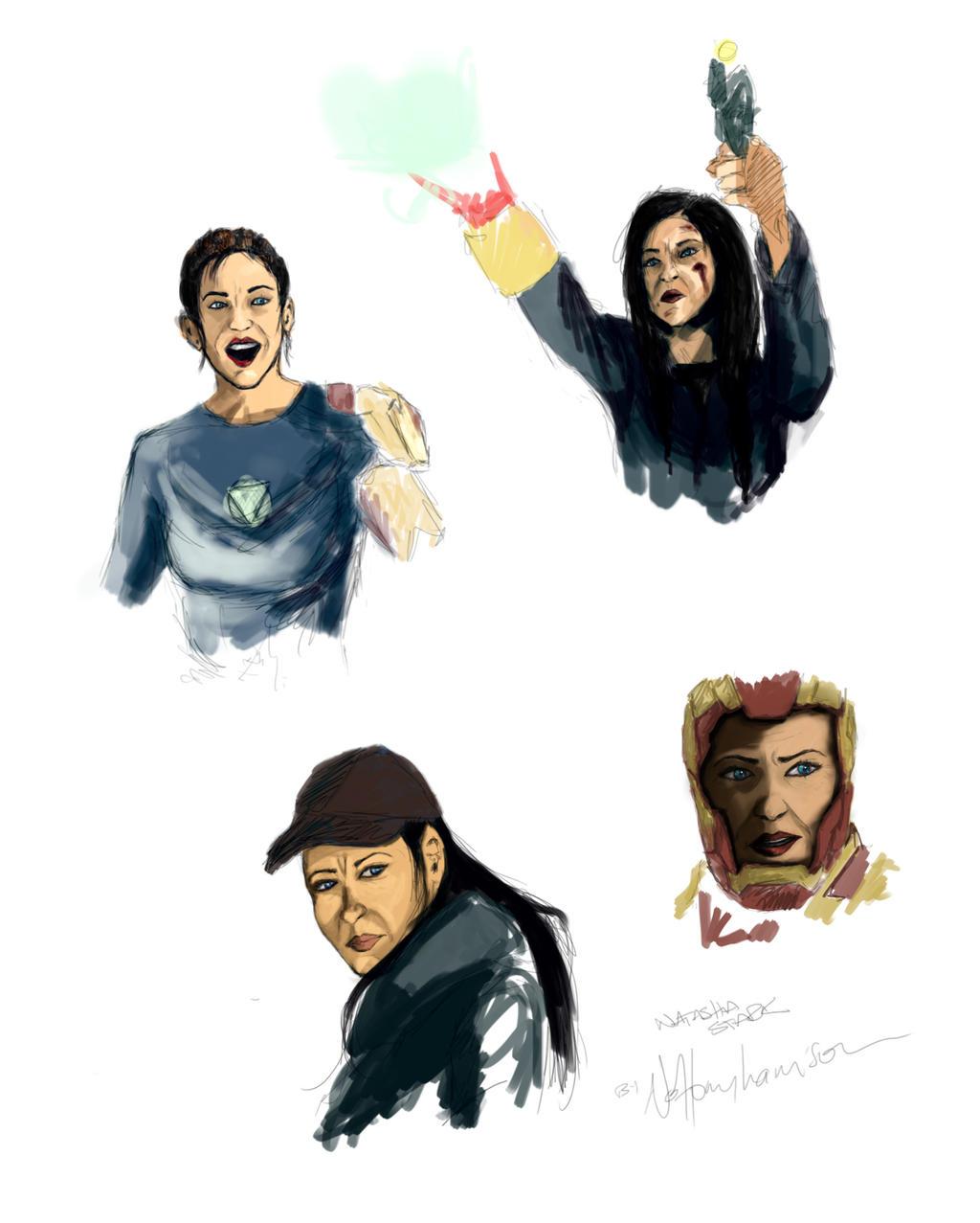 Natasha Stark - quick sketches (IM3 genderswap) by nottonyharrison