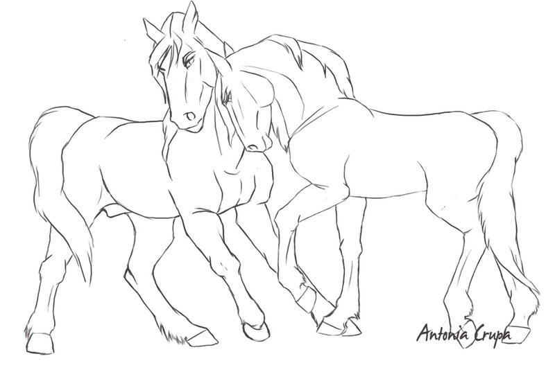 Line Art Couple : Horse couple lineart by agent on deviantart