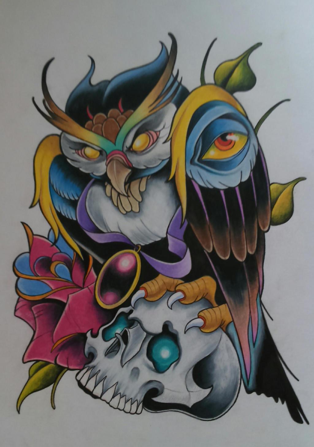 New school tattoo design -  New School Owl Tattoo Design By Sallysimon67