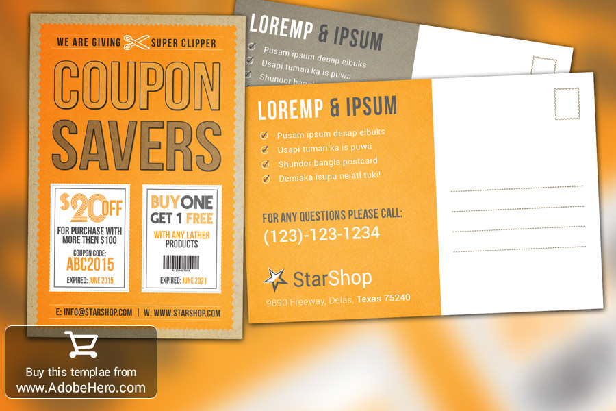 Coupon Flyer Postcard by adobehero on DeviantArt – Coupon Flyer