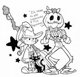 I'm here to eat candycorn and pick squashes by tabbykat