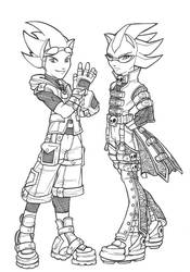 Shadows Skull Getup and Sonic by tabbykat