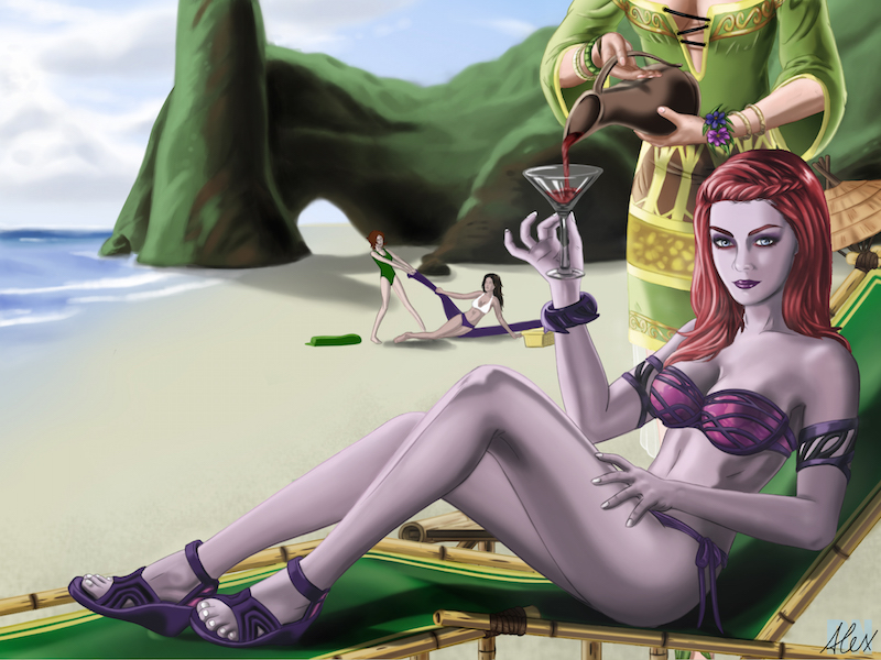 Dark Fay at the Beach (Inspired) by siberzer0