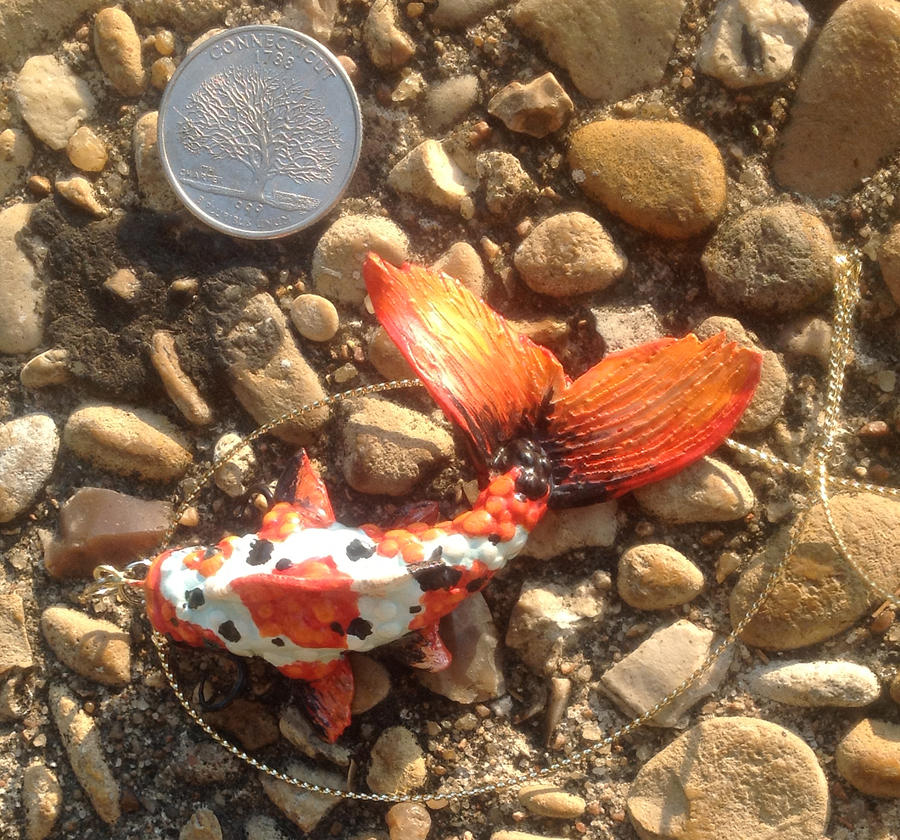 Painted koi clay pendant by omfgitsbutter on deviantart for Dragon koi fish for sale