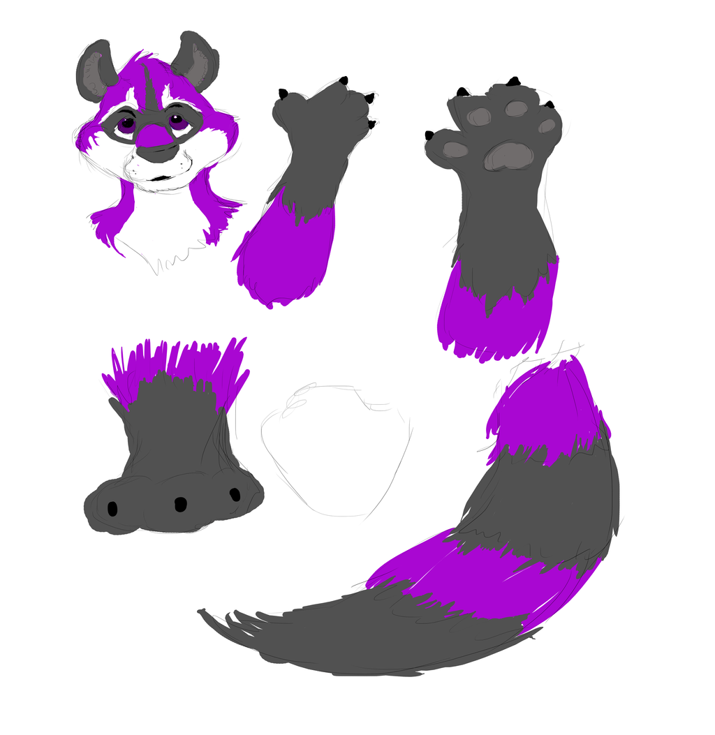 fursuit commission purple raccoon wip sketch by omfgitsbutter