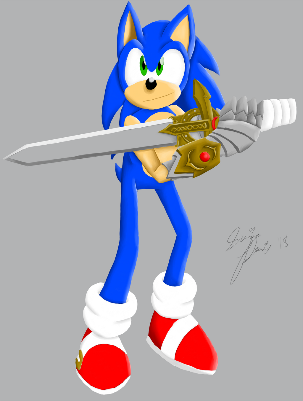 Sonic with Caliburn (COLOR)
