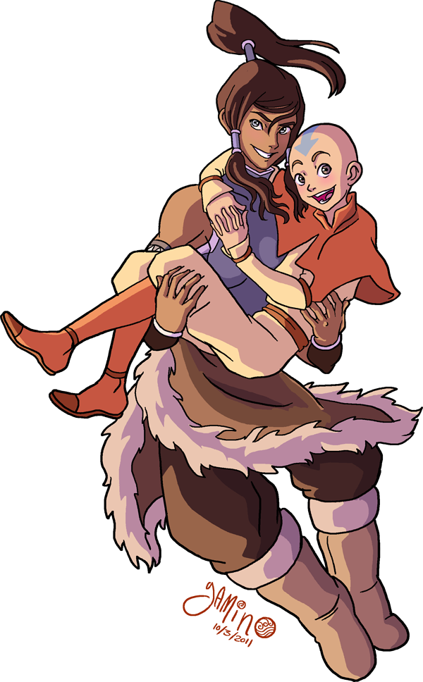 Korra and Aang by Yamino