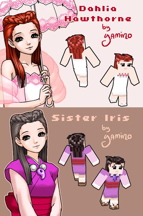 Dahlia + Iris Minecraft Skins by Yamino