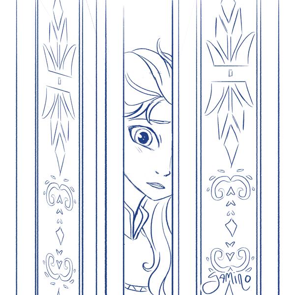 Elsa at the Door by Yamino on DeviantArt Amino Group Sketch