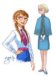 Elsa and Anna in 60's clothes