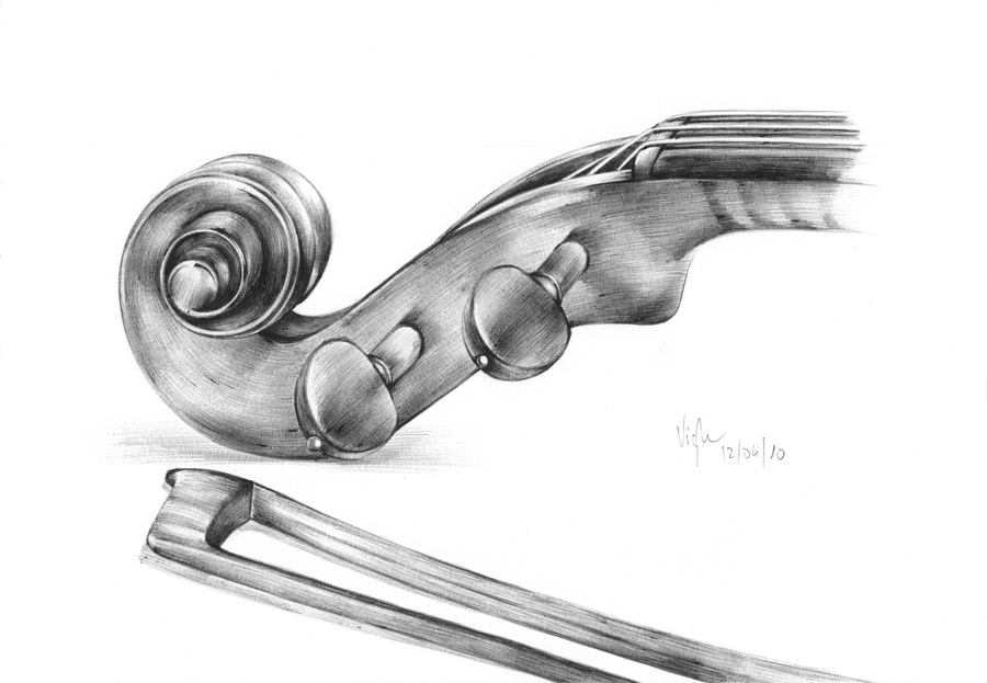 violin pencil sketch