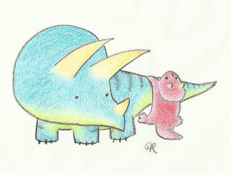 Triceratops - crayon by Annibal