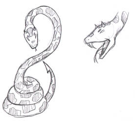 Sketch-a-Day 088 - Demon Snake by Rogo-the-Golden-Boy