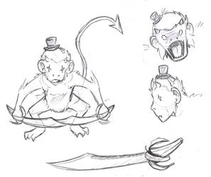 Sketch-a-Day 90 - Demon Monkey by Rogo-the-Golden-Boy