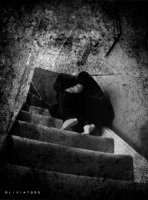 the girl on the stairs. by ~goldenanchor